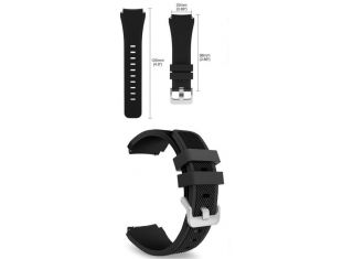BAND (ACTIVE SILICONE) FOR SAMSUNG GEAR S3 Frontier / Classic SMART WATCH - BLACK